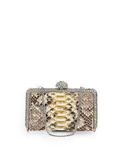 Clara Kasavina - Tina Pave Ball Small Slim Python Clutch/Yellow