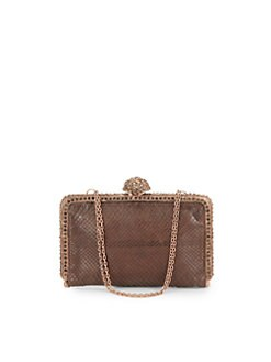 Clara Kasavina - Tina Pave Ball Small Slim Python Clutch/Brown