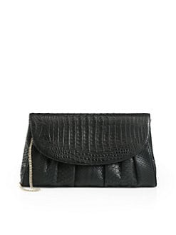 Armenta - Gathered Python Clutch/Black