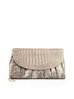 Armenta - Gathered Python Clutch/Stone