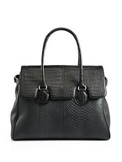 Armenta - Python & Caiman Crocodile Top Handle Bag/Black
