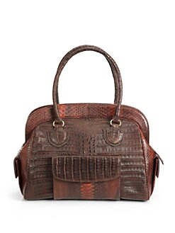 Armenta - Caiman Crocodile & Python Doctor Bag/Brown