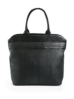 Armenta - Large Brushed Python Tote/Black