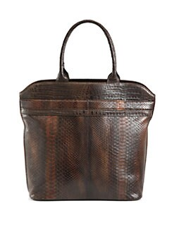 Armenta - Large Brushed Python Tote/Brown