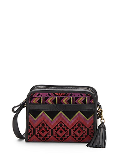 Homespun Printed Suede Crossbody Bag