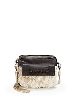 Be & D - Fur-Trimmed Leather Shoulder Bag