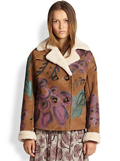 Burberry Prorsum - Hand-Painted Suede & Shearling Coat