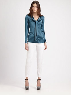 Burberry London - Silk Satin Tie Blouse