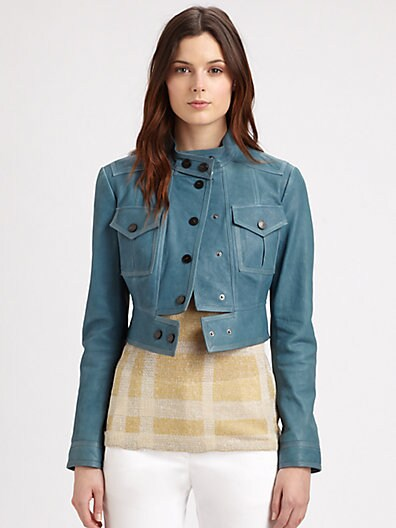 Burberry London - Cropped Leather Jacket - Saks.com
