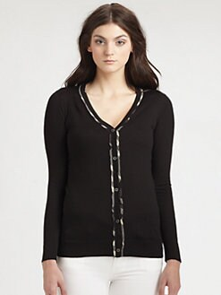 Burberry London - Checked Trim Cardigan