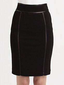 Burberry London - Leather-Trimmed Pencil Skirt