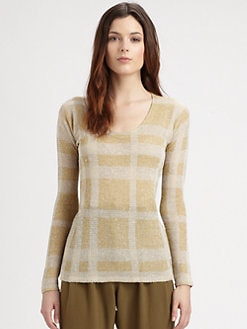 Burberry London - Silk Piqu&eacute; Check Top
