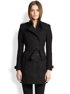Burberry London - Lace-Sleeve Trench