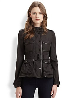 Burberry London - Leather-Trimmed Taffeta Jacket