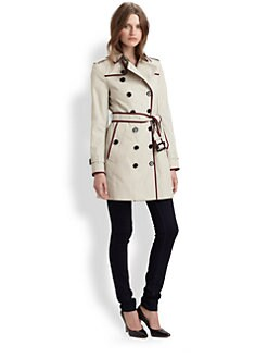 Burberry London - Queensbury Contrast-Trim Trenchcoat
