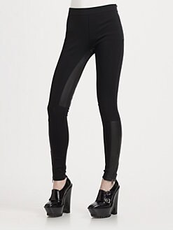 Burberry London - Knit and Leather Leggings