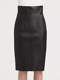 Burberry London - Paneled Leather Skirt