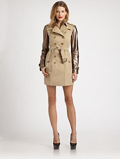 Burberry London - Leather-Sleeve Trenchcoat