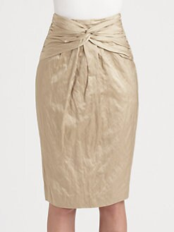 Burberry London - Twisted-Waist Matte Satin Skirt