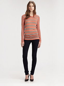 Burberry London - Striped Silk & Linen-Blend Top