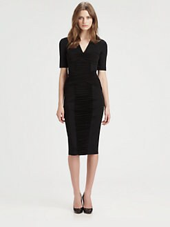 Burberry London - Ruched Paneled Body-Con Dress