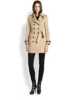 Burberry London - Leather Detail Gabardine Trench