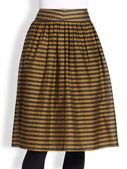 Burberry London - Silk-Blend Striped Skirt