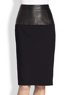 Burberry London - Leather-Yoke Pencil Skirt