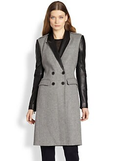 Burberry London - Leather-Trimmed Wool Coat