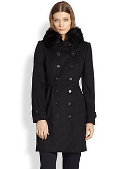 Burberry London - Fox Fur-Collared Wool & Cashmere Trenchcoat