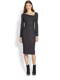 Burberry London - Darcy Asymmetrical-Neck Wool Dress