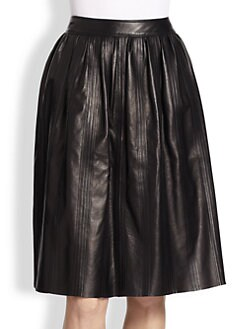 Burberry London - Leather Full Midi Skirt