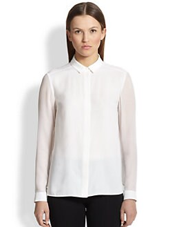 Burberry London - Sheer-Sleeve Silk Blouse