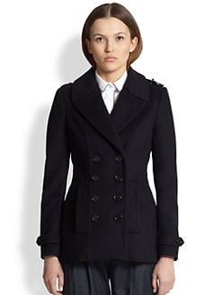 Burberry London - Ecclesfield Leather-Trimmed Peacoat