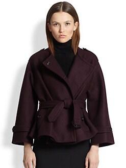 Burberry London - Barwell Short Belted Wool Cape Coat