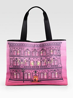 Love Moschino - Building Print Canvas Tote