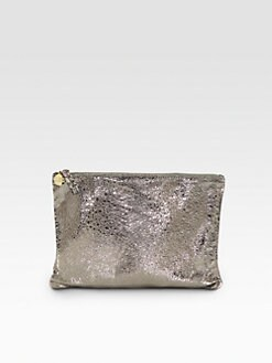 CLARE VIVIER - Textured Metallic Flat Clutch