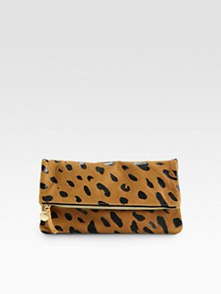CLARE VIVIER - Jaguar Printed Leather Fold-Over Clutch