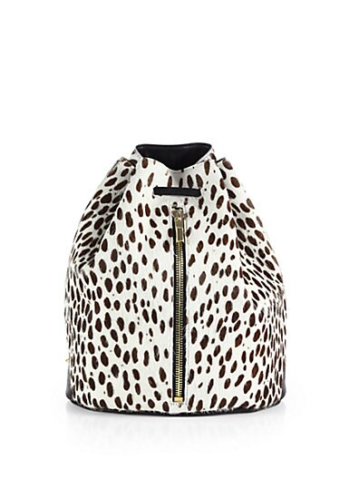 Abstract Animal-Print Calf Hair Sling Backpack