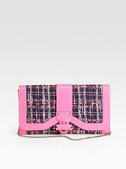 Milly - Kiera Tweed & Patent Leather Clutch