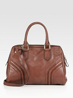 Milly - Zoey Snake-Embossed Leather Satchel