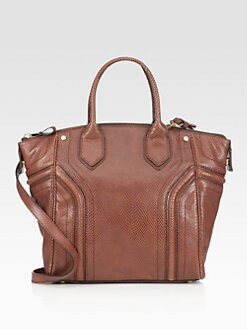 Milly - Zoey Snake-Embossed Leather Tote