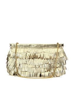 Milly - Nikki Metallic Leather Fringe Convertible Clutch