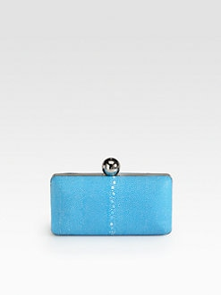 Milly - Madison Stingray Embossed Leather Minaudiere Clutch