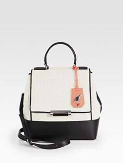Diane von Furstenberg - 440 Colorblock Raffia Small Top Handle Bag