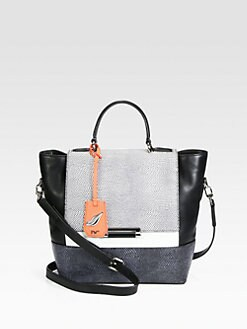 Diane von Furstenberg - 440 Colorblock Lizard-Embossed Top Handle Bag