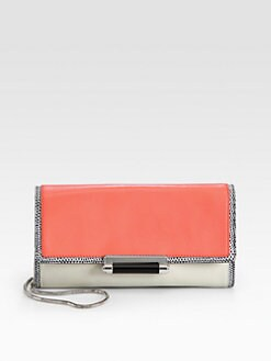 Diane von Furstenberg - Gracie Bar Lock Lizard-Embossed Clutch