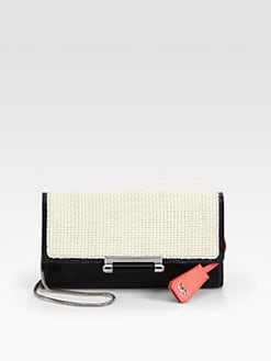 Diane von Furstenberg - Gracie Bar Lock Raffia Clutch