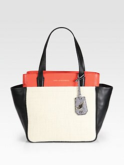 Diane von Furstenberg - On-The-Go Colorblock Raffia & Leather Tote