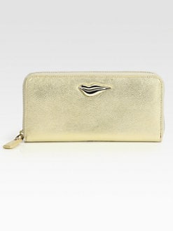 Diane von Furstenberg - Lips Metallic Zip-Around Wallet